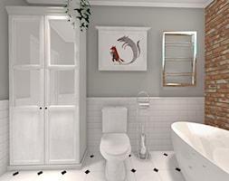 Na skraju lasu - Mała biała szara łazienka na poddaszu w bloku w domu jednorodzinnym z oknem, styl rustykalny - zdjęcie od Pracownia Projektowa Decoretti - Agata Jachimowicz