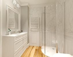 Elegancki dom na obrzeżach Gdyni - Średnia biała łazienka bez okna, styl nowojorski - zdjęcie od Pracownia Projektowa Decoretti - Agata Jachimowicz