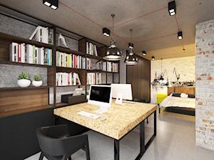 Loft Wałowa - Średnie beżowe szare biuro domowe w pokoju, styl industrialny - zdjęcie od Pracownia Projektowa Decoretti - Agata Jachimowicz