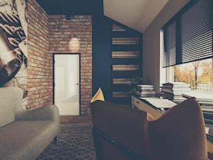 Dom Eklektyczny - Średnie czarne szare biuro domowe kącik do pracy w pokoju, styl eklektyczny - zdjęcie od Pracownia Projektowa Decoretti - Agata Jachimowicz