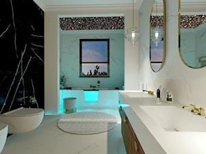 Dom w Kielnie - Średnia biała czarna łazienka z oknem, styl klasyczny - zdjęcie od Pracownia Projektowa Decoretti - Agata Jachimowicz