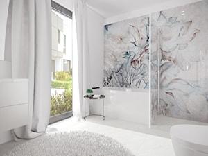 Mieszkanie w Baninie - Średnia biała szara łazienka w bloku w domu jednorodzinnym z oknem, styl minimalistyczny - zdjęcie od Pracownia Projektowa Decoretti - Agata Jachimowicz