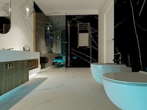 Dom w Kielnie - Średnia biała czarna łazienka bez okna, styl klasyczny - zdjęcie od Pracownia Projektowa Decoretti - Agata Jachimowicz