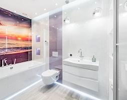 Łazienka o Zachodzie Słońca - Średnia łazienka w bloku w domu jednorodzinnym bez okna, styl nowoczesny - zdjęcie od Pracownia Projektowa Decoretti - Agata Jachimowicz