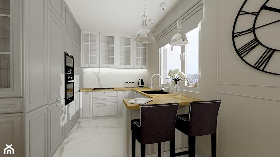 Elegancki dom na obrzeżach Gdyni - Średnia otwarta biała kuchnia w kształcie litery g z oknem, styl nowojorski - zdjęcie od Pracownia Projektowa Decoretti - Agata Jachimowicz