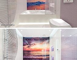 Łazienka o Zachodzie Słońca - Mała łazienka w bloku w domu jednorodzinnym bez okna, styl nowoczesny - zdjęcie od Pracownia Projektowa Decoretti - Agata Jachimowicz