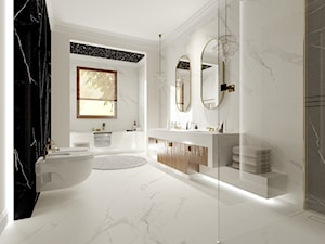 Dom w Kielnie - Duża biała czarna łazienka z oknem, styl klasyczny - zdjęcie od Pracownia Projektowa Decoretti - Agata Jachimowicz
