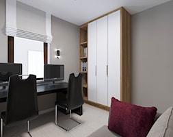 Apartament Morena - Metamorfoza - Średnie szare biuro domowe kącik do pracy w pokoju, styl nowoczesny - zdjęcie od Pracownia Projektowa Decoretti - Agata Jachimowicz