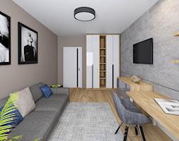 Dom Chełm 2 - Duże szare biuro domowe kącik do pracy w pokoju, styl nowoczesny - zdjęcie od Pracownia Projektowa Decoretti - Agata Jachimowicz