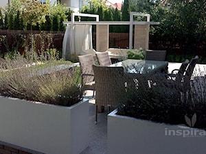 Ogród nowoczesny w Wilanowie - Średni ogród za domem z pergolą, styl minimalistyczny - zdjęcie od Studio projektowe INSPIRACJE
