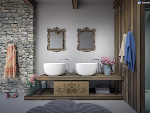 Nablatowa umywalka Cristalstone Separado – Vidrio Cinco - Mała szara łazienka na poddaszu w bloku w domu jednorodzinnym bez okna, styl rustykalny - zdjęcie od Cristalstone