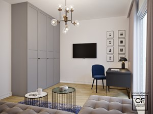 Eleganckie wnętrza w domu jednorodzinnym - Średnie białe biuro domowe kącik do pracy w pokoju, styl art deco - zdjęcie od O.Fiedorowicz