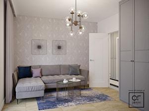 Eleganckie wnętrza w domu jednorodzinnym - Średnie szare białe biuro kącik do pracy w pokoju, styl art deco - zdjęcie od O.Fiedorowicz