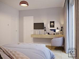Eleganckie wnętrza w domu jednorodzinnym - Średnia biała szara sypialnia małżeńska, styl art deco - zdjęcie od O.Fiedorowicz