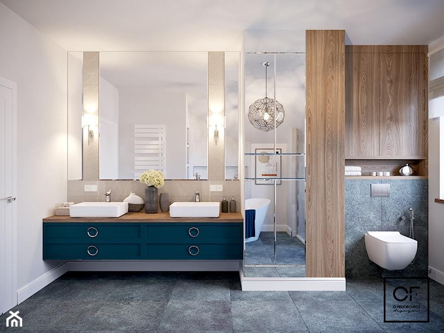 Dom pod Łodzią - Średnia czarna szara łazienka w bloku w domu jednorodzinnym bez okna, styl klasyczny - zdjęcie od O.Fiedorowicz