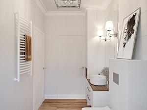 Dom pod Łodzią - Mała biała łazienka w bloku w domu jednorodzinnym bez okna, styl klasyczny - zdjęcie od O.Fiedorowicz