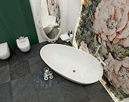 Łazienka / apartament Katowice / 11m2 - Średnia biała zielona łazienka w bloku w domu jednorodzinnym bez okna, styl vintage - zdjęcie od Laura Zubel ARCHITEKT WNĘTRZ