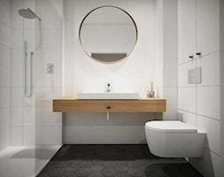 Projekt mieszkanie - skandynawskie smaki - Mała biała łazienka w bloku w domu jednorodzinnym bez okna, styl skandynawski - zdjęcie od HOME AND WOOD