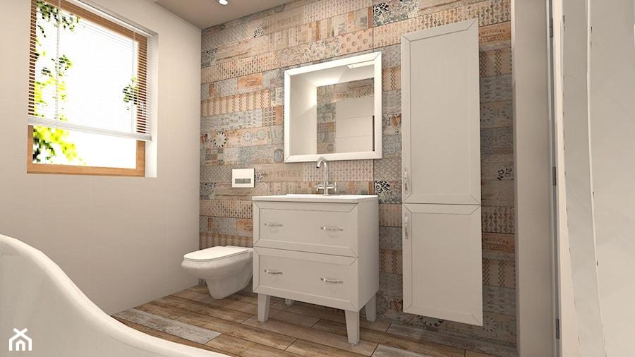 łazienka Styl Rustykalny Mała Biała łazienka W Bloku W