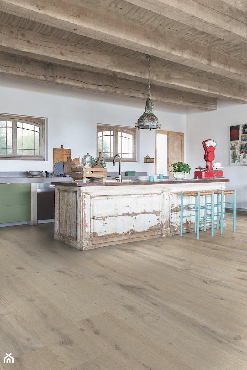 Podłoga Drewniana Massimo Duża Otwarta Biała Kuchnia