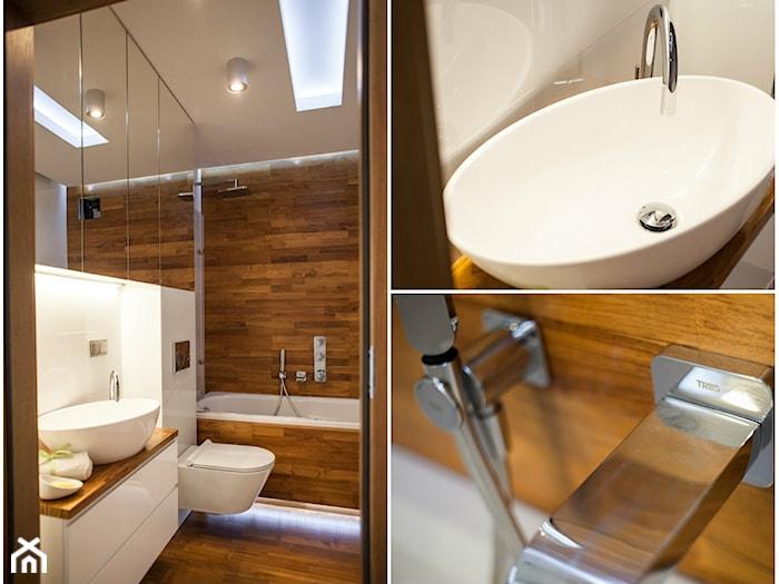 nowoczesna łazienka wykończona drewnem