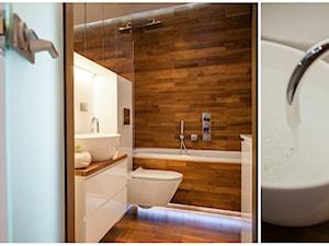 Francuska kamienica sypialnia i łazienka - konkurs - Mała beżowa łazienka w domu jednorodzinnym, styl nowoczesny - zdjęcie od Arkadiusz Grzędzicki projektowanie wnętrz