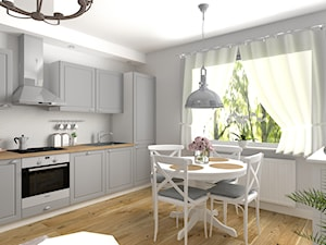 Salon z aneksem kuchennym w stylu hampton