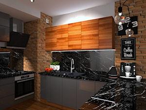 Salon z aneksem kuchennym w stylu soft loft