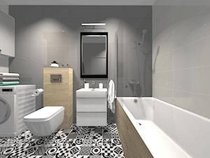 Łazienka w stylu skandynawskim z płytkami patchworkowymi
