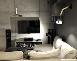 MIESZKANIE KRAKÓW - Mały szary salon, styl industrialny - zdjęcie od DelaBartman