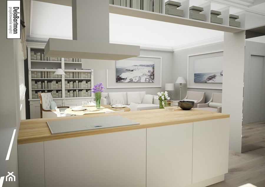 Wyspa z białą płytą indukcyjną  zdjęcie od DelaBartman -> Kuchnia Z Wyspa Okap