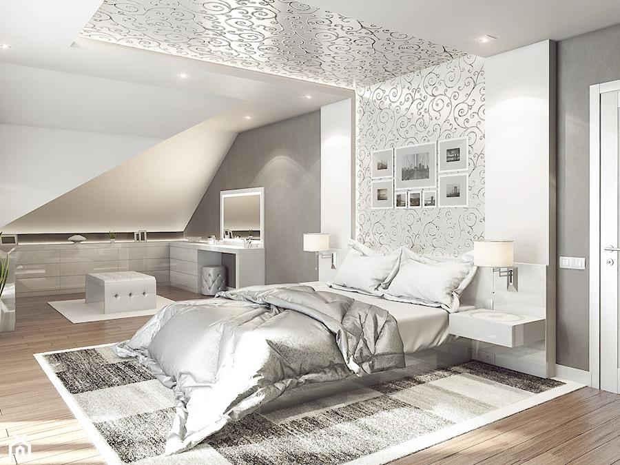 SYPIALNIA   NOWY SĄCZ - Duża biała szara sypialnia małżeńska na poddaszu, styl art deco - zdjęcie od OneArtStudio