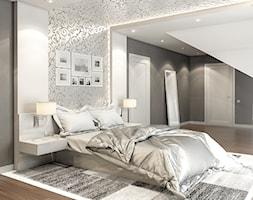 Duża szara sypialnia małżeńska na poddaszu, styl art deco - zdjęcie od OneArtStudio