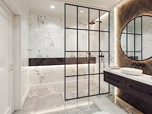 Łazienka 01 - Średnia szara łazienka w bloku w domu jednorodzinnym z oknem bez okna, styl rustykalny - zdjęcie od OneArtStudio
