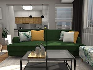 Zielona kanapa w poznańskim mieszkaniu