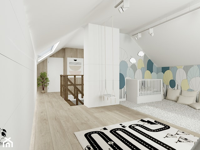 Łagodny w formie i kolorach styl skandynawski – antresola w domu jednorodzinnym