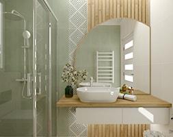 Zielona łazienka z dodatkiem drewna - zdjęcie od Feel-Project - Homebook