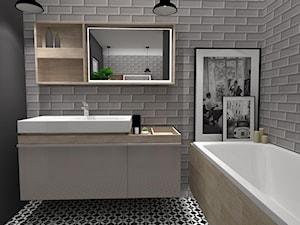 Łazienka z szarą cegłą