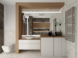 Łazienka - marmur i drewno