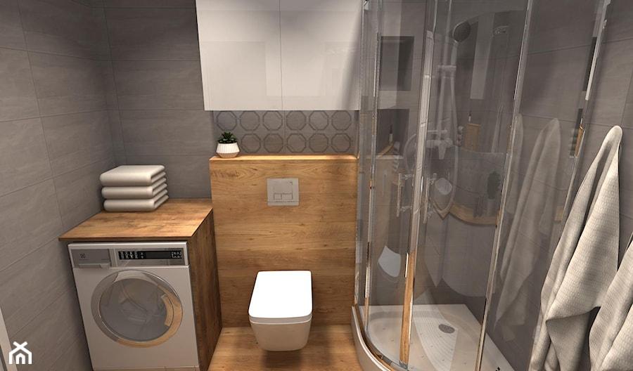 Szara łazienka z drewnem - zdjęcie od Feel-Project - homebook
