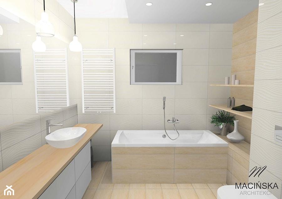 Skandynawskie łazienki w Zalasewie - Średnia biała beżowa łazienka na poddaszu w bloku w domu jednorodzinnym z oknem, styl skandynawski - zdjęcie od MACIŃSKA ARCHITEKCI