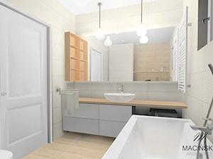 Skandynawskie łazienki w Zalasewie - Mała beżowa łazienka na poddaszu w bloku w domu jednorodzinnym, styl skandynawski - zdjęcie od MACIŃSKA ARCHITEKCI