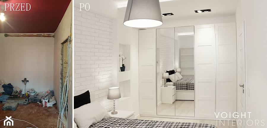 Zdjęcia z metamorfozy mieszkania 36m2 w Warszawie - Średnia biała sypialnia małżeńska, styl glamour - zdjęcie od Voight Interiors