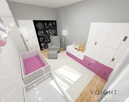 Sypialnia dla małej księżniczki - Średni szary pokój dziecka dla dziewczynki dla niemowlaka, styl skandynawski - zdjęcie od Voight Interiors