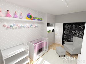 Sypialnia dla małej księżniczki - Średni szary czarny pokój dziecka dla chłopca dla dziewczynki dla niemowlaka, styl skandynawski - zdjęcie od Voight Interiors