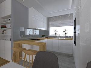 Na szaro - Średnia otwarta szara kuchnia w kształcie litery u w aneksie z oknem, styl nowoczesny - zdjęcie od SUARE STUDIO Natalia Margraf-Wojciechowska