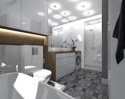 łazienka pod skosem - Średnia biała łazienka w bloku w domu jednorodzinnym jako salon kąpielowy bez okna, styl nowoczesny - zdjęcie od SUARE STUDIO Natalia Margraf-Wojciechowska