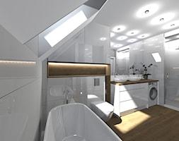 łazienka pod skosem - Duża biała łazienka na poddaszu w domu jednorodzinnym z oknem, styl nowoczesny - zdjęcie od SUARE STUDIO Natalia Margraf-Wojciechowska