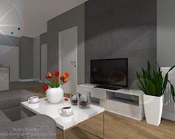 Aranżacja mieszkania - Mały szary biały salon z kuchnią z jadalnią, styl nowoczesny - zdjęcie od SUARE STUDIO Natalia Margraf-Wojciechowska
