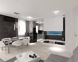 Mieszkanie w Lublinie - Duży biały czarny salon z kuchnią z jadalnią, styl nowoczesny - zdjęcie od MODIFY - Architektura Wnętrz
